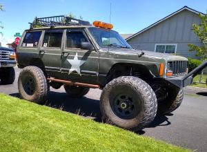 "1989 Jeep Cherokee XJ, 40"" MTRs, Disc D60s, Caged, Armored For Sale"